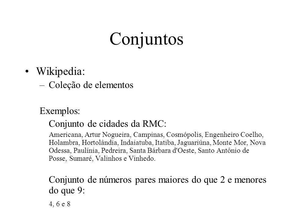 Conjuntos Wikipedia: Coleção de elementos Exemplos: