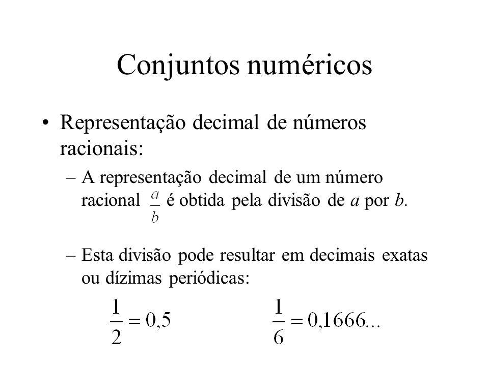 Conjuntos numéricos Representação decimal de números racionais: