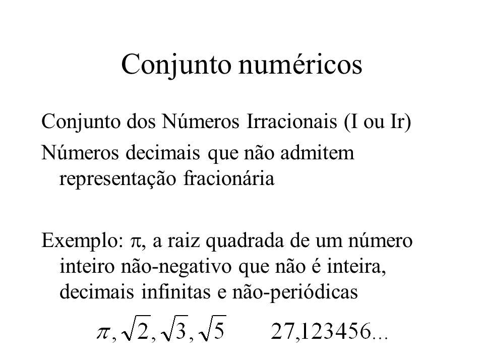 Conjunto numéricos Conjunto dos Números Irracionais (I ou Ir)