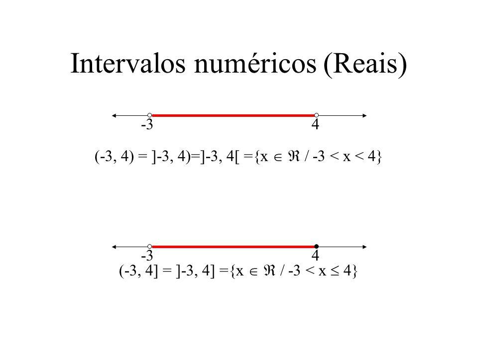 Intervalos numéricos (Reais)
