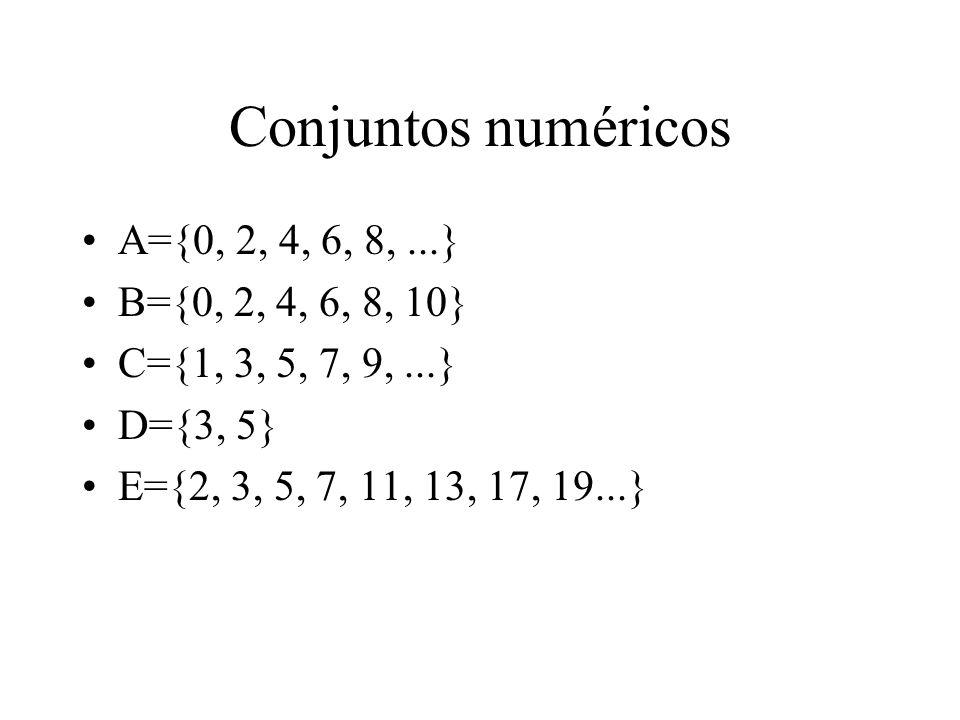 Conjuntos numéricos A={0, 2, 4, 6, 8, ...} B={0, 2, 4, 6, 8, 10}