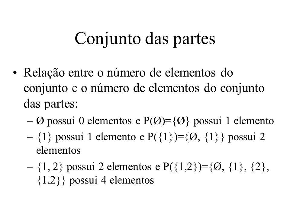 Conjunto das partes Relação entre o número de elementos do conjunto e o número de elementos do conjunto das partes: