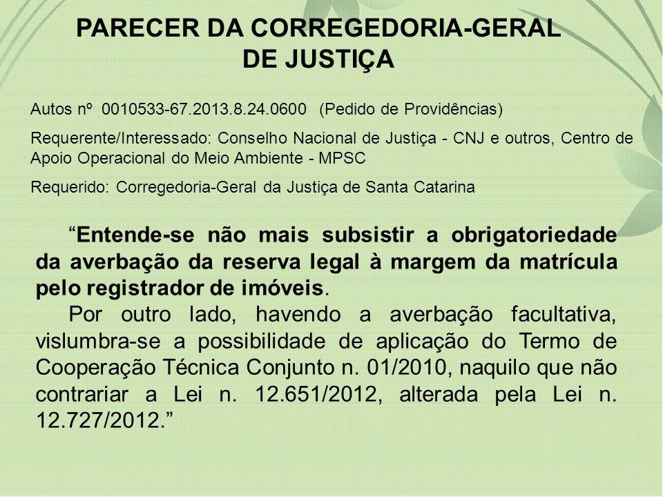 PARECER DA CORREGEDORIA-GERAL DE JUSTIÇA