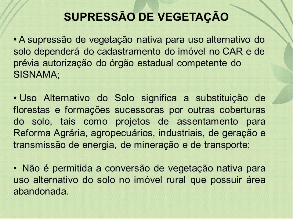 SUPRESSÃO DE VEGETAÇÃO