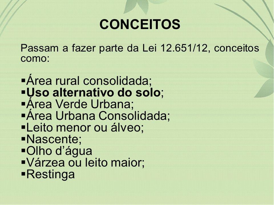 CONCEITOS Área rural consolidada; Uso alternativo do solo;