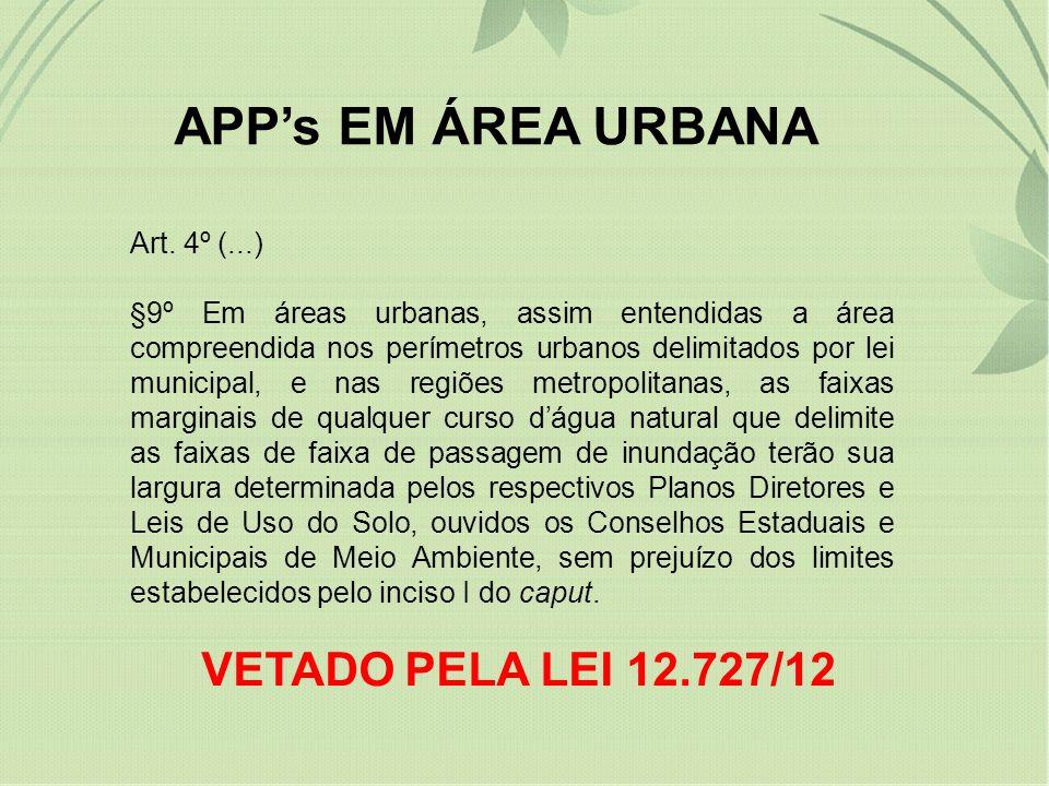 APP's EM ÁREA URBANA VETADO PELA LEI 12.727/12 Art. 4º (...)