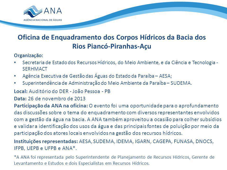 Oficina de Enquadramento dos Corpos Hídricos da Bacia dos Rios Piancó-Piranhas-Açu