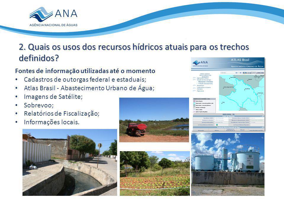 2. Quais os usos dos recursos hídricos atuais para os trechos definidos