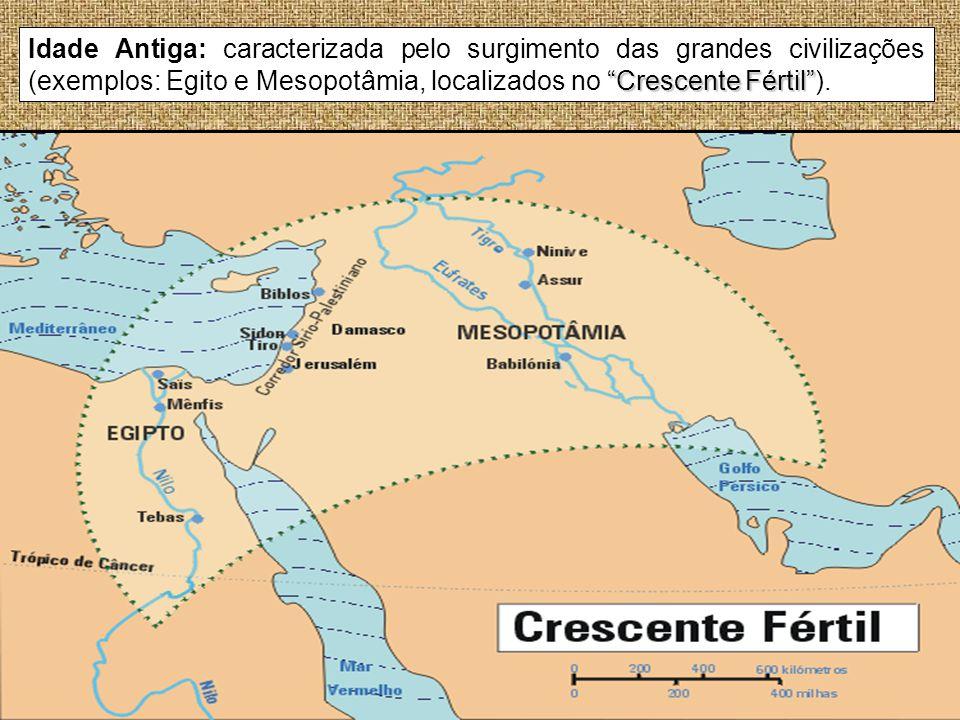 Idade Antiga: caracterizada pelo surgimento das grandes civilizações (exemplos: Egito e Mesopotâmia, localizados no Crescente Fértil ).