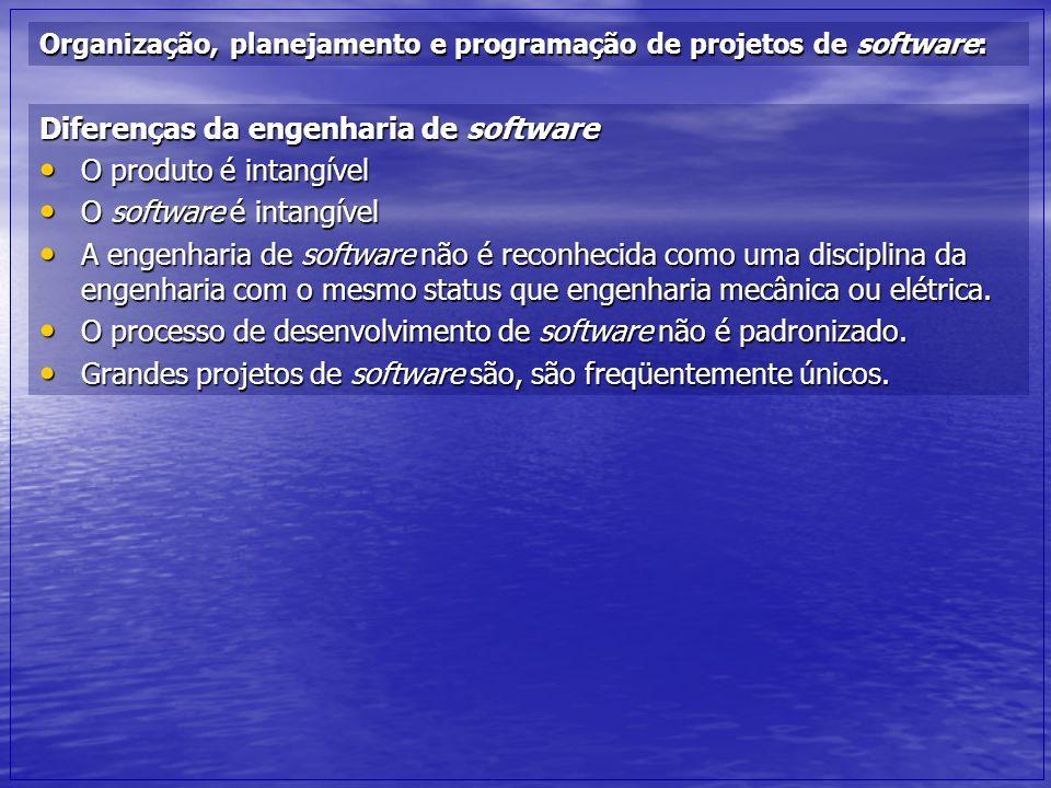 Diferenças da engenharia de software O produto é intangível