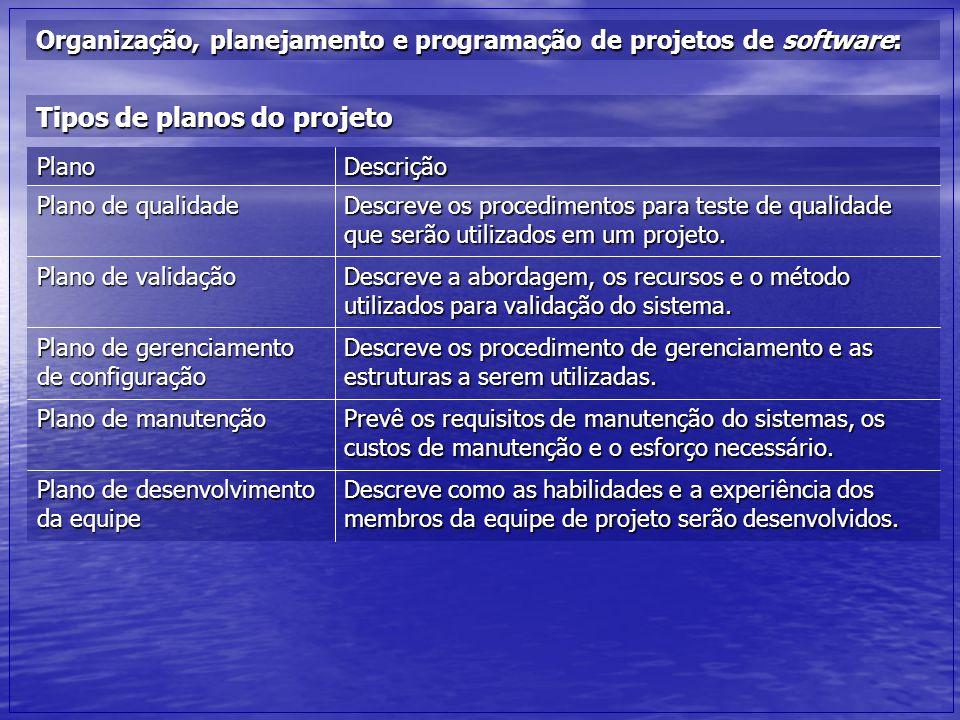 Tipos de planos do projeto