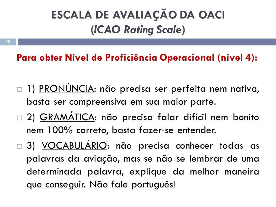 ESCALA DE AVALIAÇÃO DA OACI (ICAO Rating Scale)
