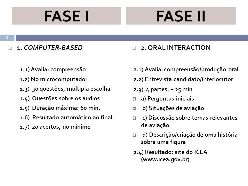 FASE I FASE II 1. COMPUTER-BASED 1.1) Avalia: compreensão