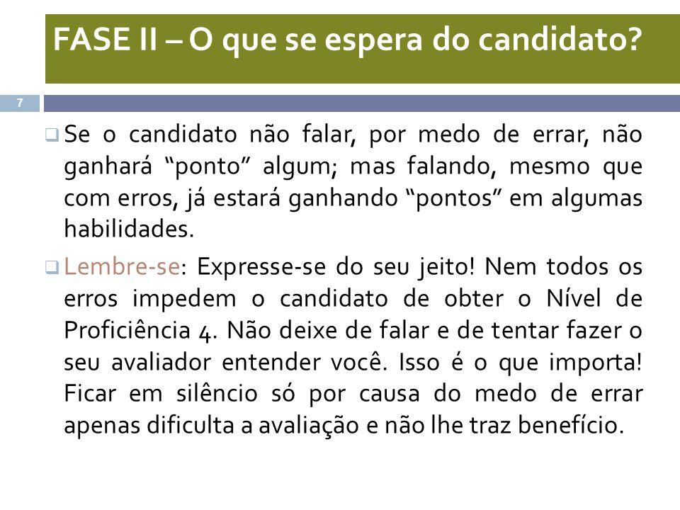 FASE II – O que se espera do candidato