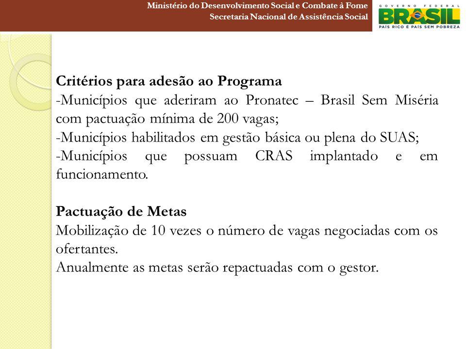 Critérios para adesão ao Programa