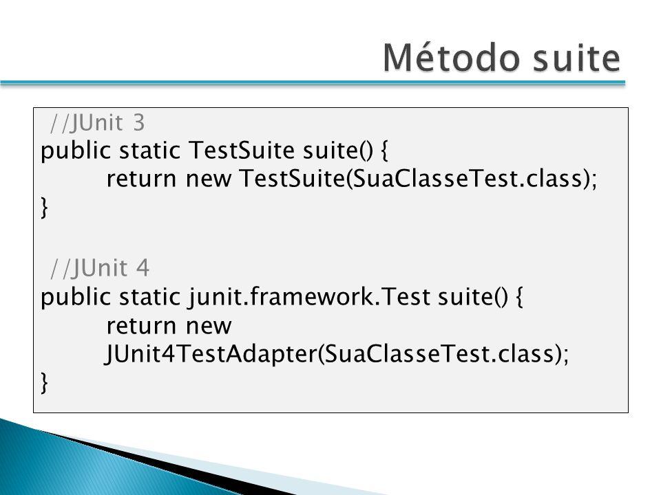 Método suite public static TestSuite suite() {