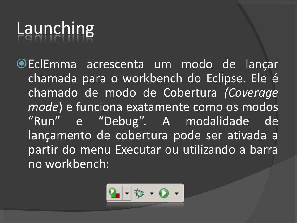 EclEmma acrescenta um modo de lançar chamada para o workbench do Eclipse.