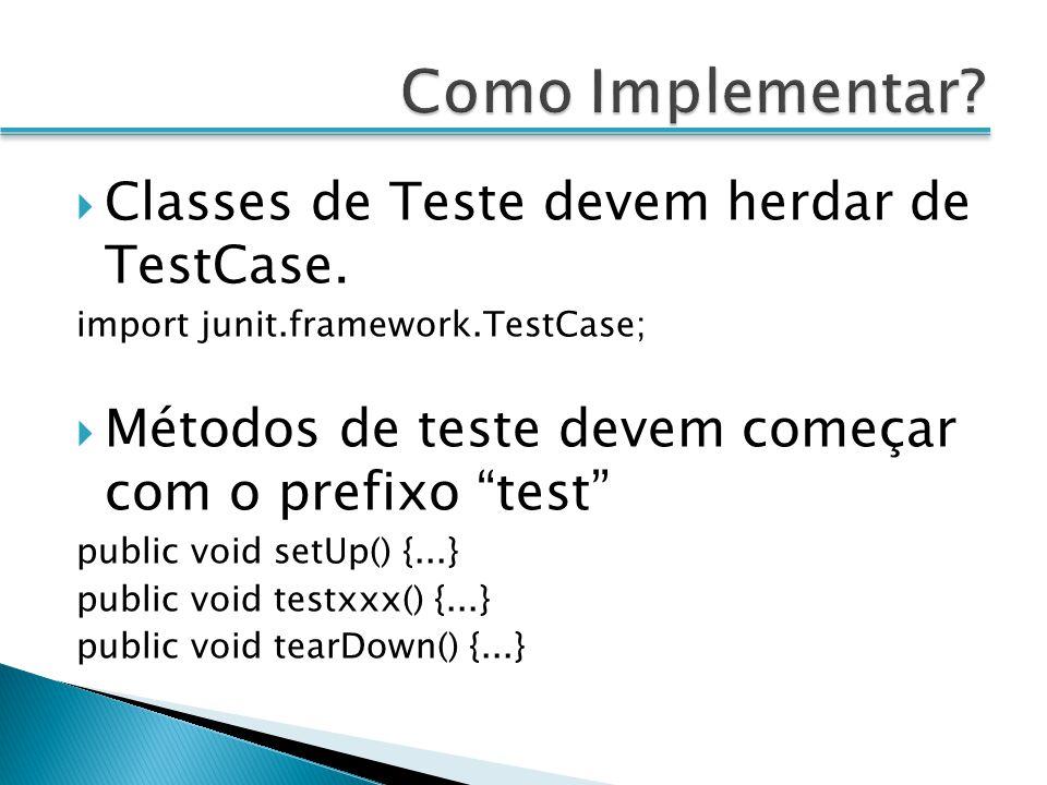 Como Implementar Classes de Teste devem herdar de TestCase.