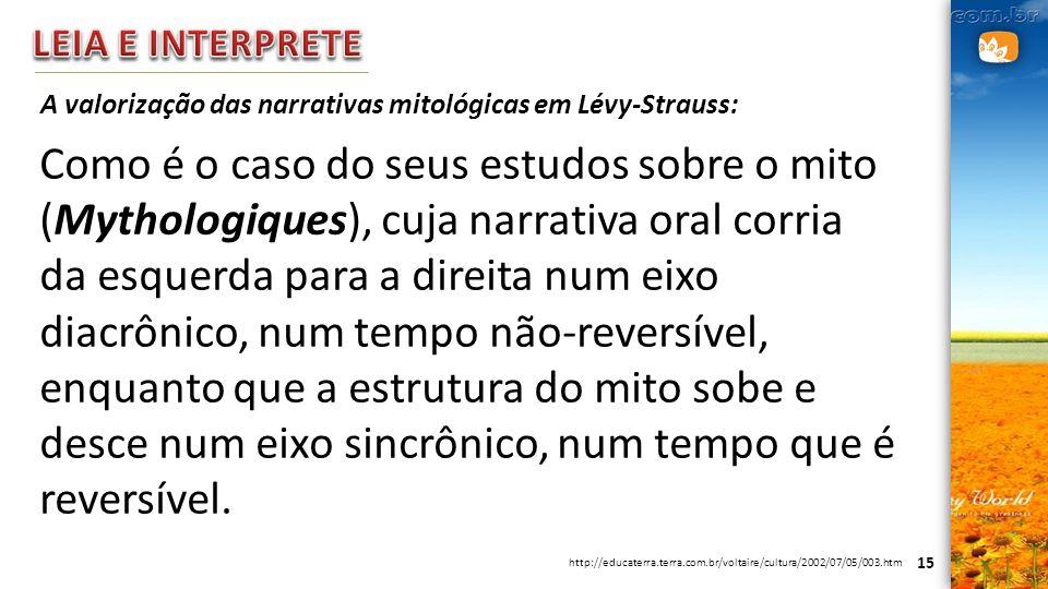 LEIA E INTERPRETE A valorização das narrativas mitológicas em Lévy-Strauss:
