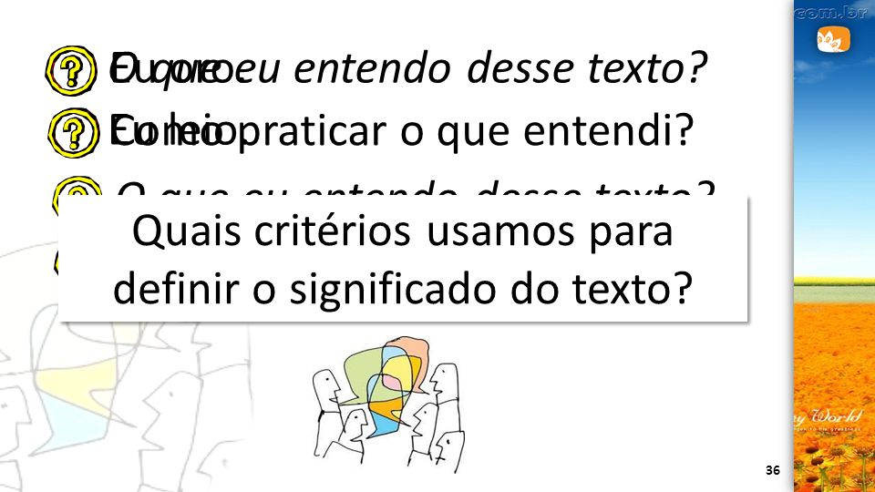Quais critérios usamos para definir o significado do texto