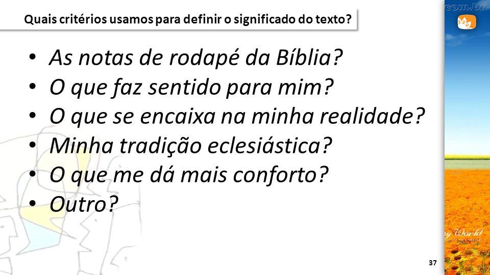 As notas de rodapé da Bíblia O que faz sentido para mim