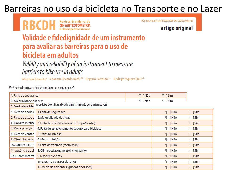 Barreiras no uso da bicicleta no Transporte e no Lazer