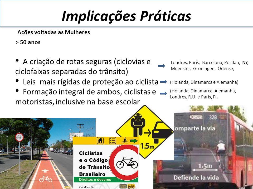 Implicações Práticas Ações voltadas as Mulheres. > 50 anos. A criação de rotas seguras (ciclovias e ciclofaixas separadas do trânsito)