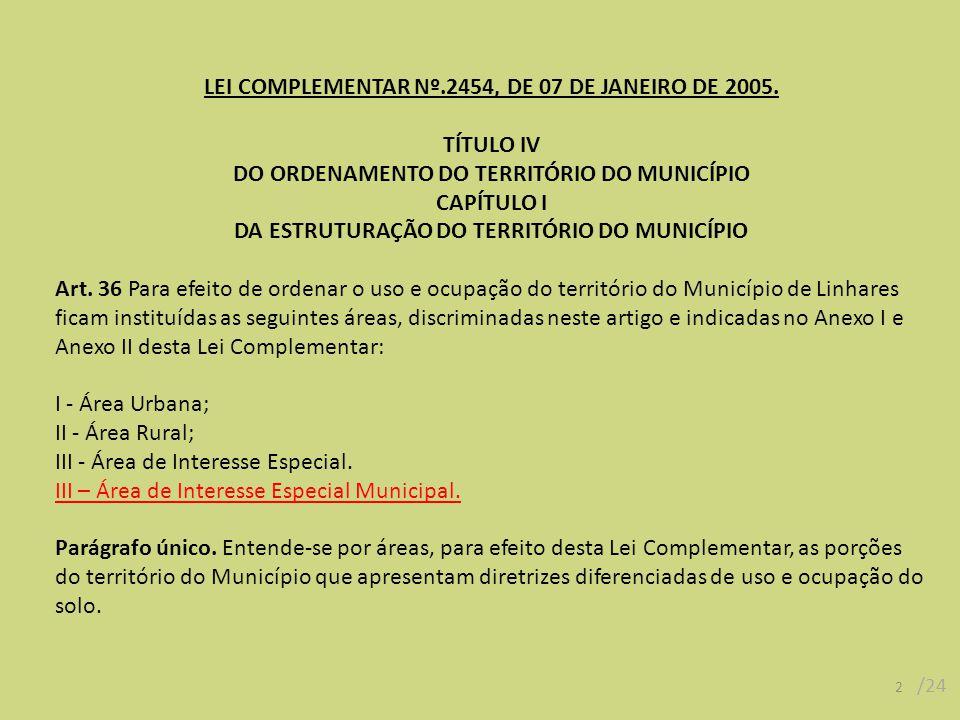 LEI COMPLEMENTAR Nº.2454, DE 07 DE JANEIRO DE 2005. TÍTULO IV