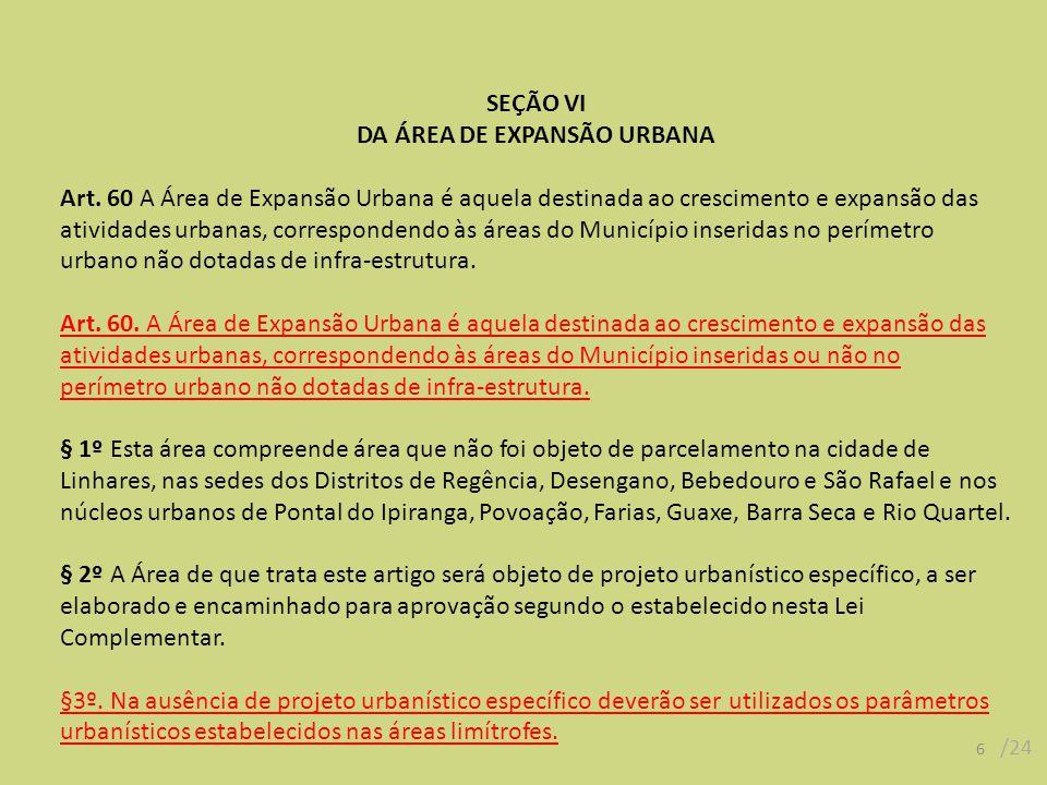 DA ÁREA DE EXPANSÃO URBANA
