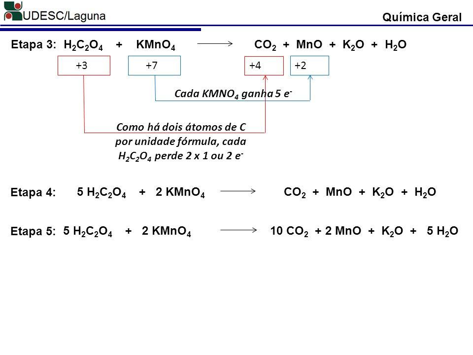 H2C2O4 + KMnO4 CO2 + MnO + K2O + H2O Etapa 3: