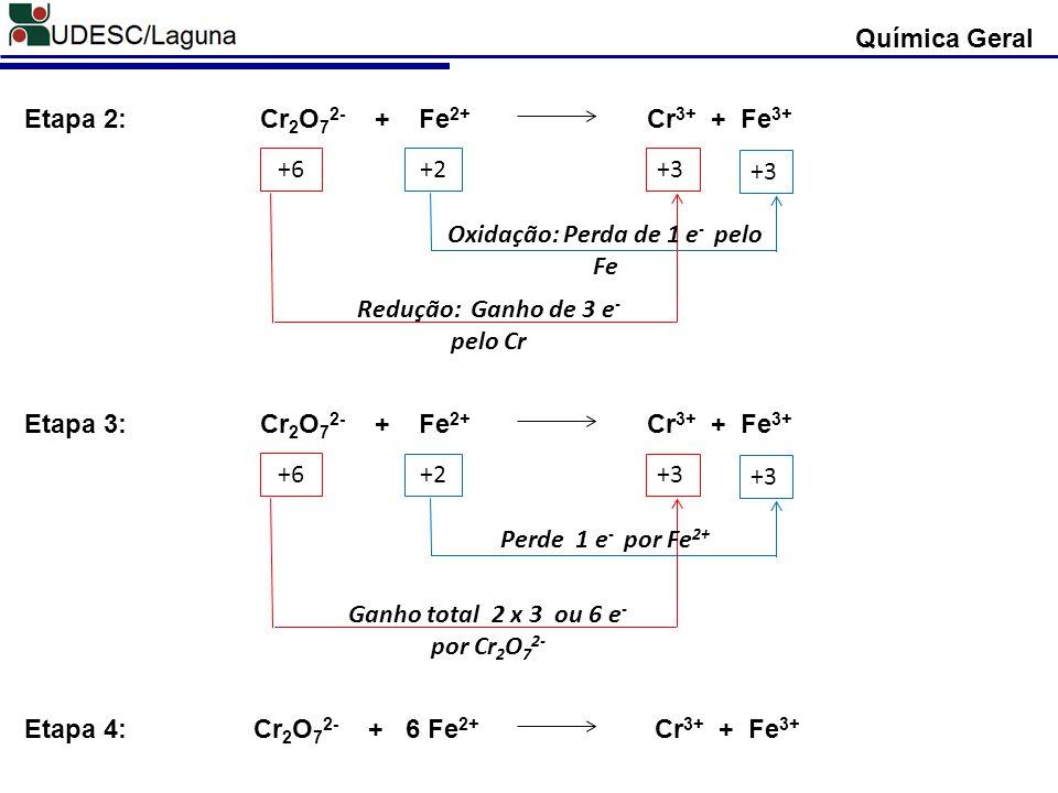 Redução: Ganho de 3 e- pelo Cr Oxidação: Perda de 1 e- pelo Fe