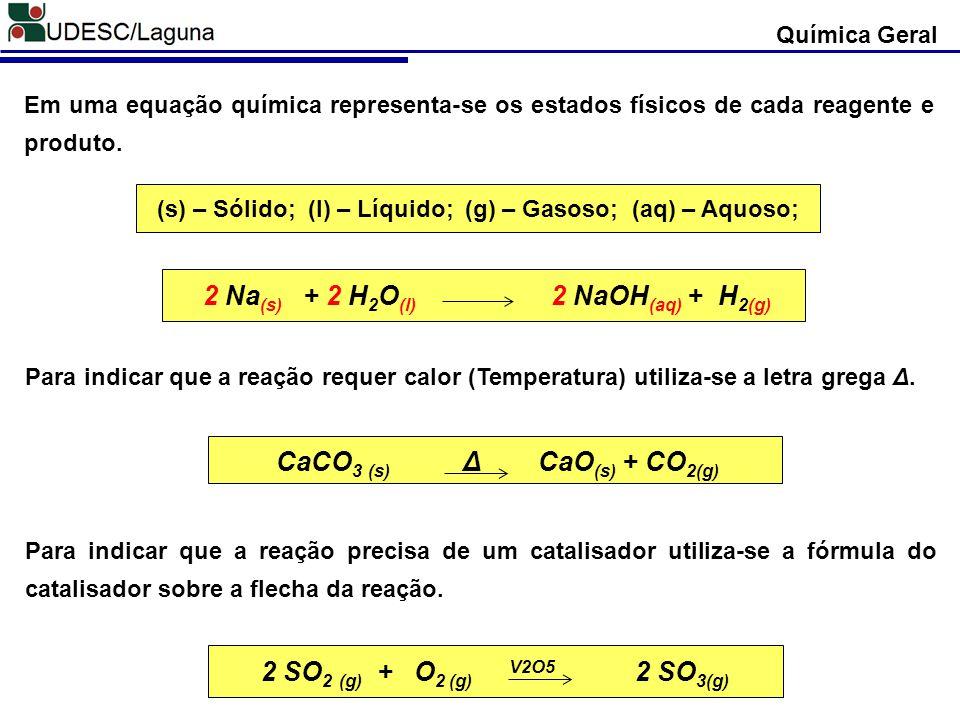 (s) – Sólido; (l) – Líquido; (g) – Gasoso; (aq) – Aquoso;