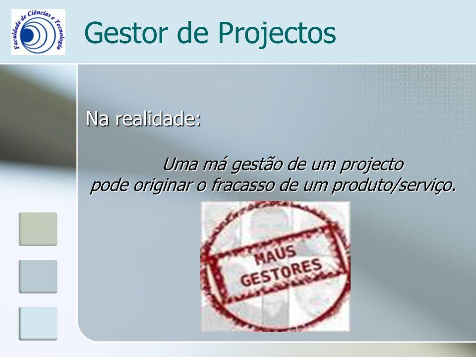 Gestor de Projectos Na realidade: Uma má gestão de um projecto