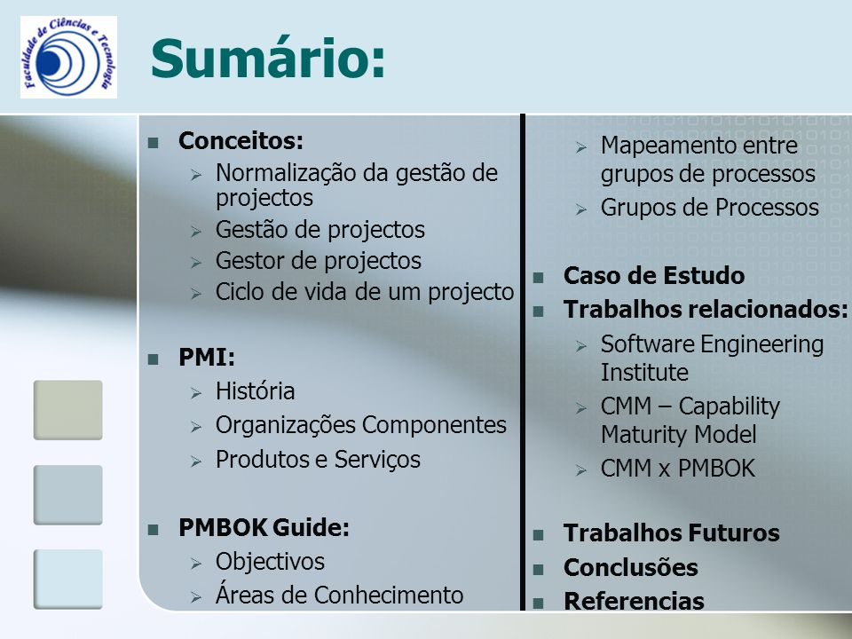 Sumário: Conceitos: Normalização da gestão de projectos