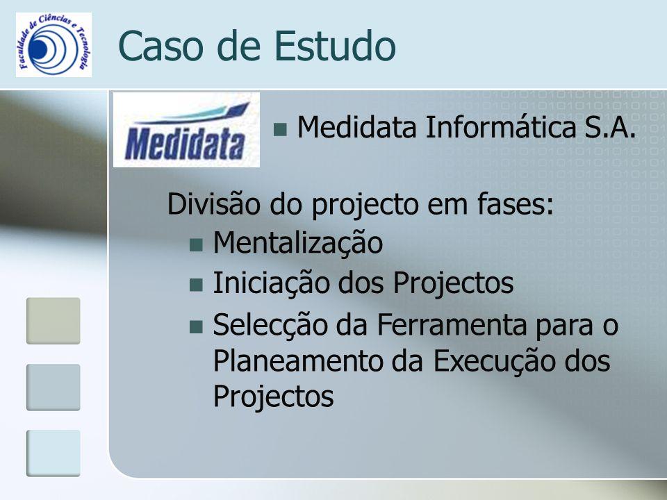 Caso de Estudo Medidata Informática S.A. Divisão do projecto em fases: