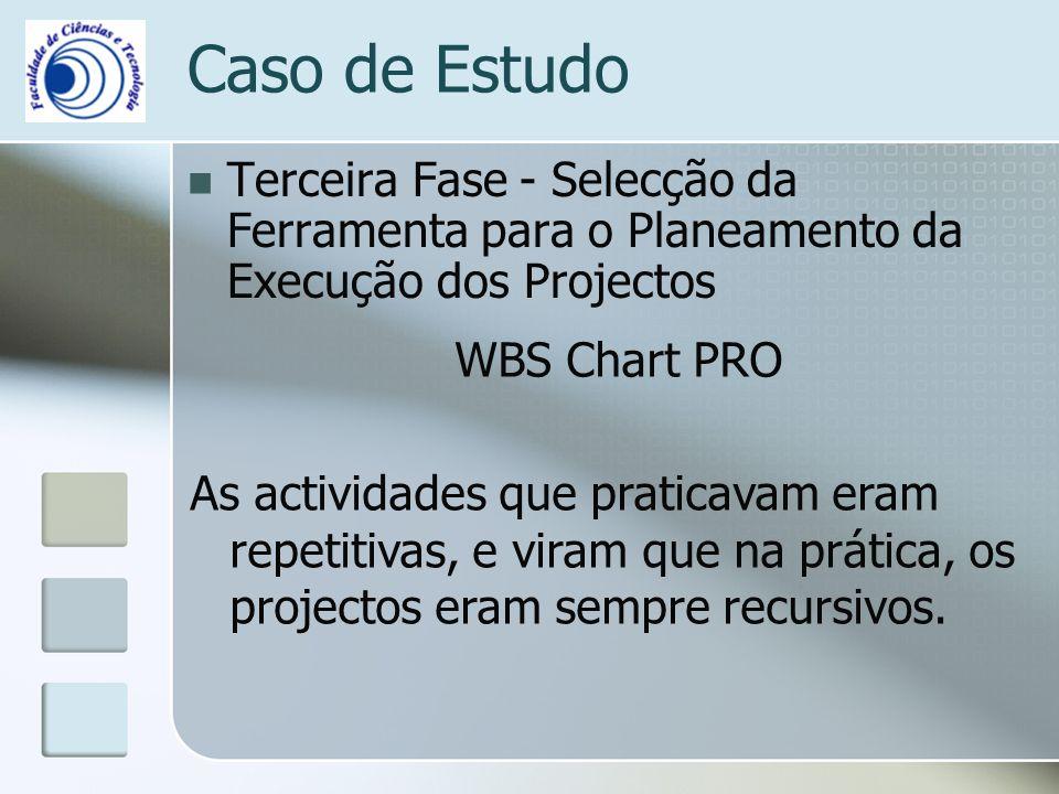 Caso de Estudo Terceira Fase - Selecção da Ferramenta para o Planeamento da Execução dos Projectos.