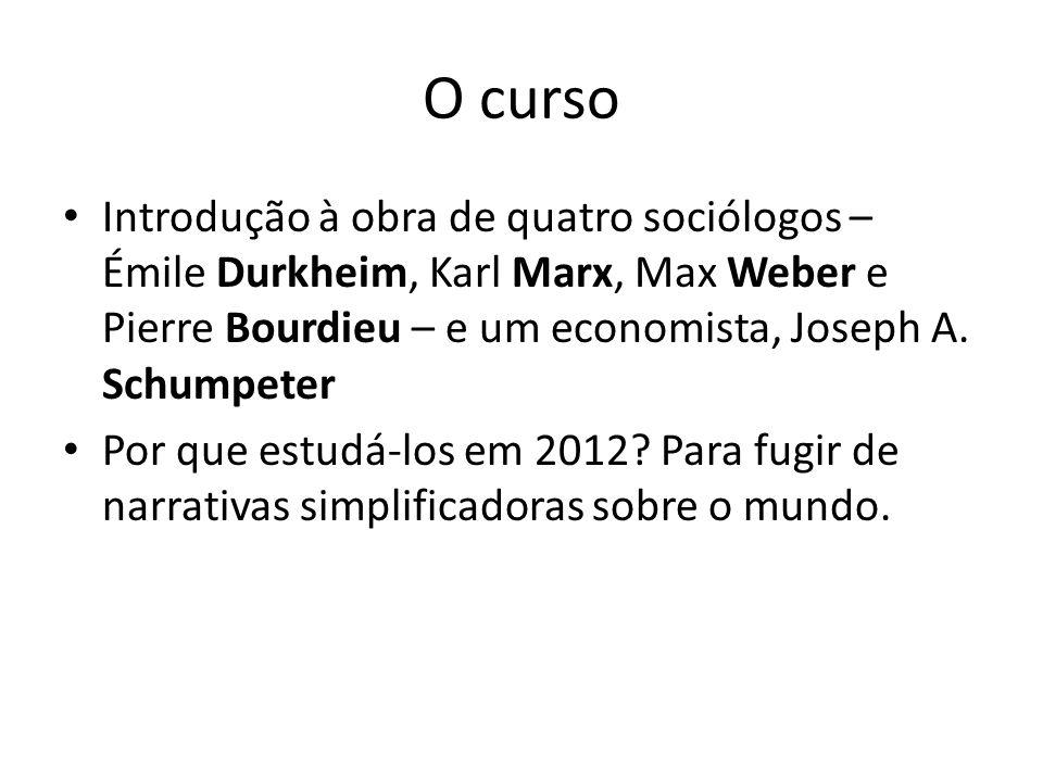 O curso Introdução à obra de quatro sociólogos – Émile Durkheim, Karl Marx, Max Weber e Pierre Bourdieu – e um economista, Joseph A. Schumpeter.