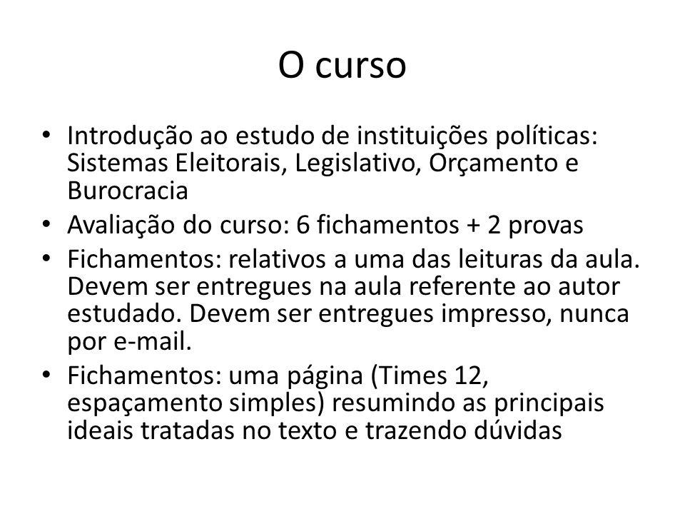 O curso Introdução ao estudo de instituições políticas: Sistemas Eleitorais, Legislativo, Orçamento e Burocracia.
