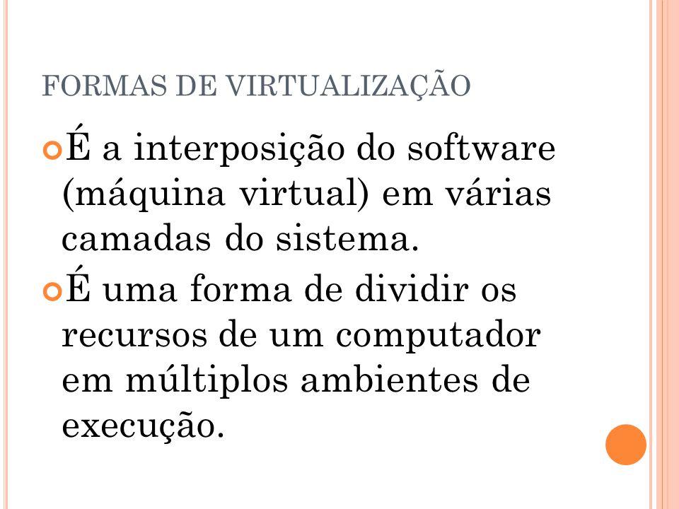 FORMAS DE VIRTUALIZAÇÃO