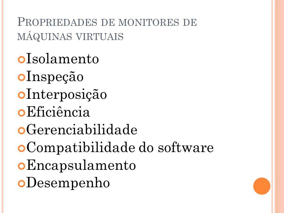 Propriedades de monitores de máquinas virtuais