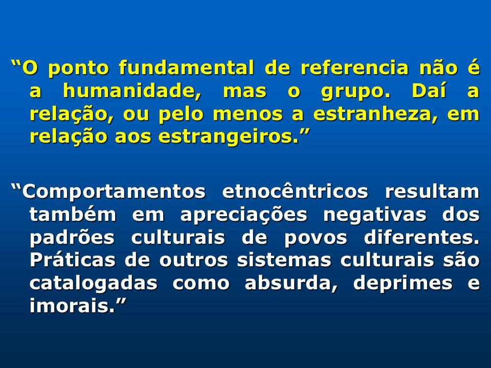 O ponto fundamental de referencia não é a humanidade, mas o grupo