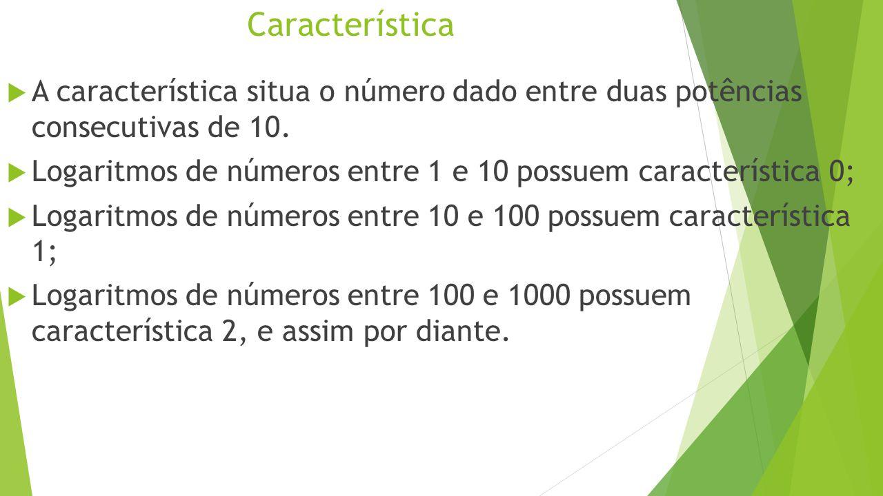 Característica A característica situa o número dado entre duas potências consecutivas de 10.