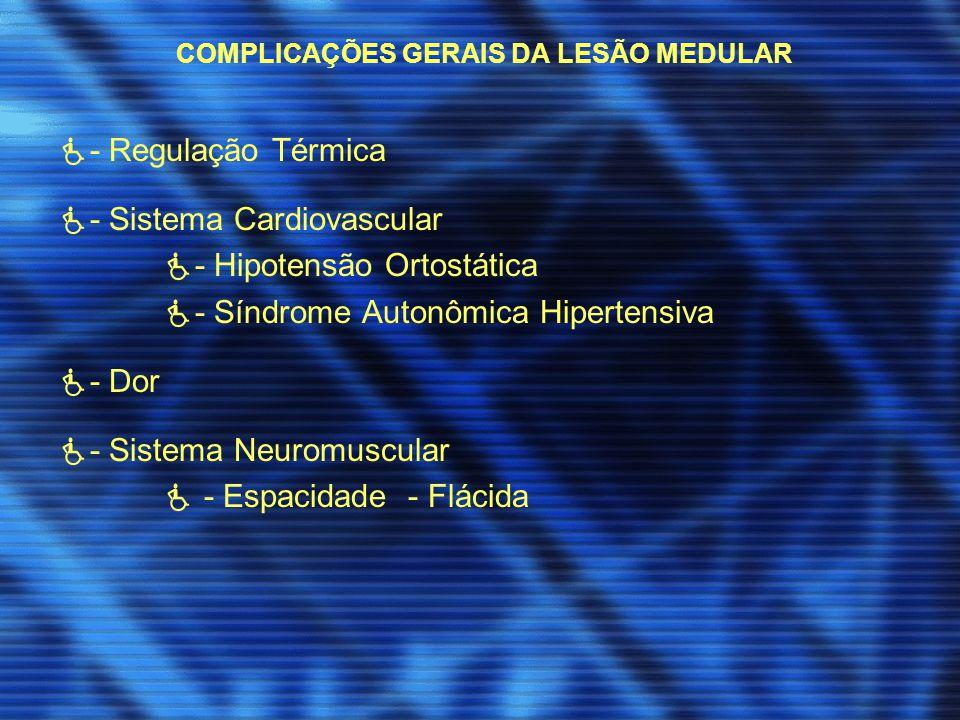 COMPLICAÇÕES GERAIS DA LESÃO MEDULAR