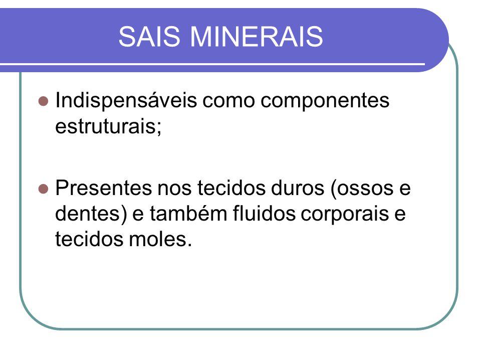 SAIS MINERAIS Indispensáveis como componentes estruturais;