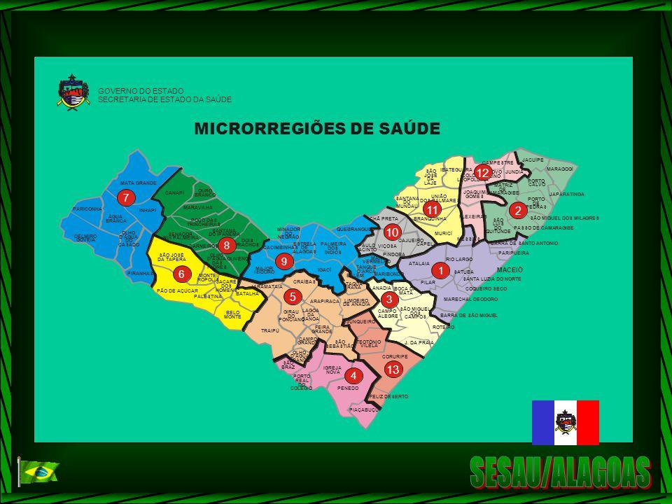SESAU/ALAGOAS MICRORREGIÕES DE SAÚDE 12 11 10 13 2 5 7 8 9 1 6 3 4