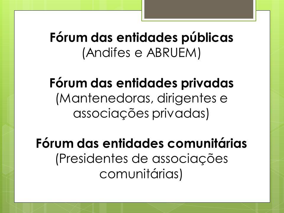 Fórum das entidades públicas (Andifes e ABRUEM) Fórum das entidades privadas (Mantenedoras, dirigentes e associações privadas) Fórum das entidades comunitárias (Presidentes de associações comunitárias)