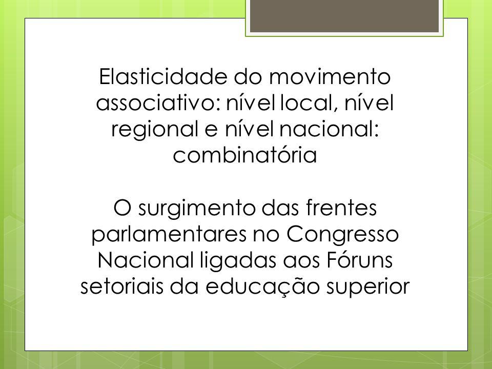 Elasticidade do movimento associativo: nível local, nível regional e nível nacional: combinatória O surgimento das frentes parlamentares no Congresso Nacional ligadas aos Fóruns setoriais da educação superior