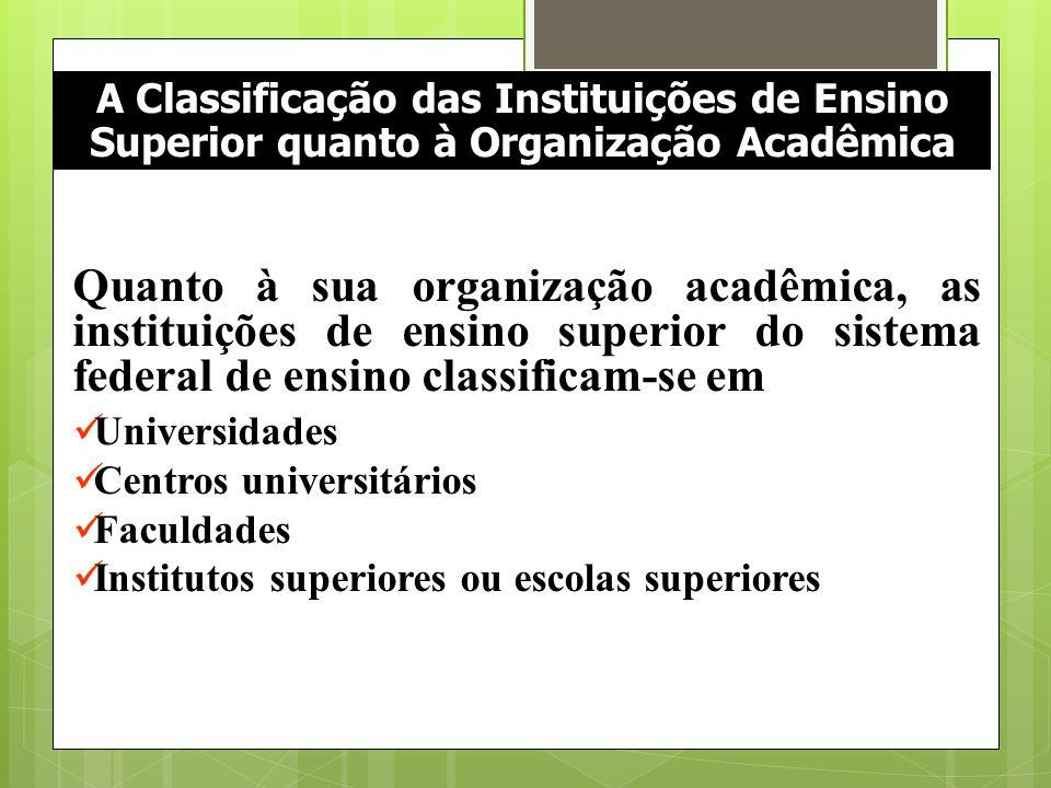 A Classificação das Instituições de Ensino Superior quanto à Organização Acadêmica