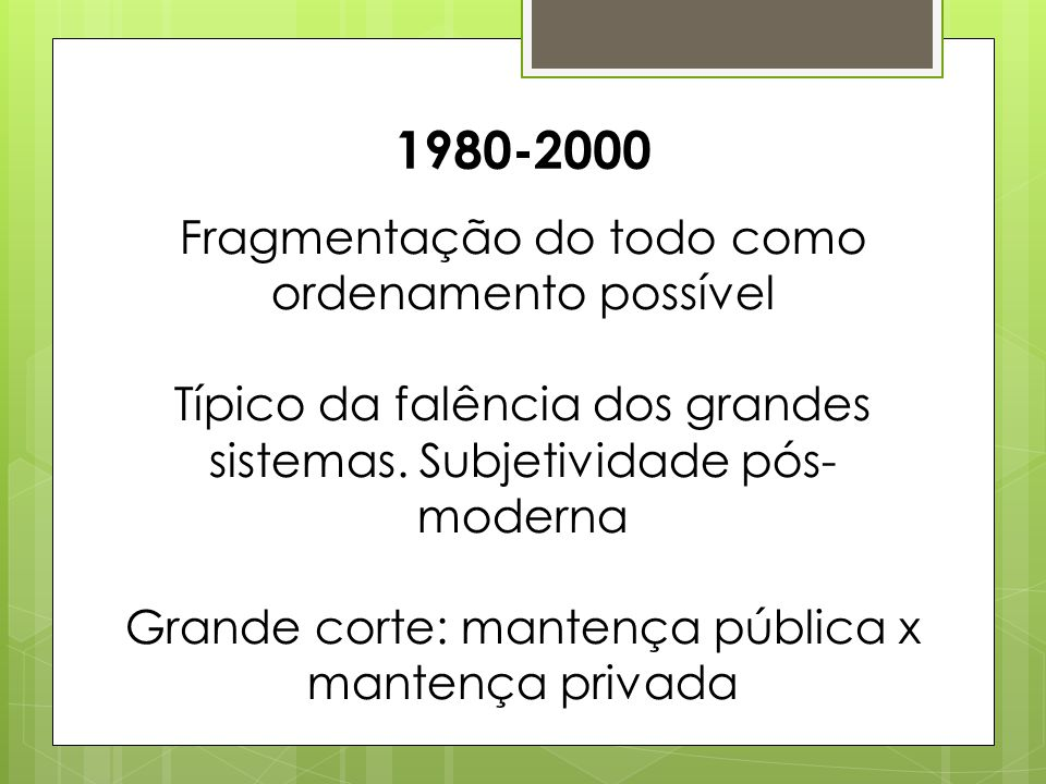 1980-2000 Fragmentação do todo como ordenamento possível
