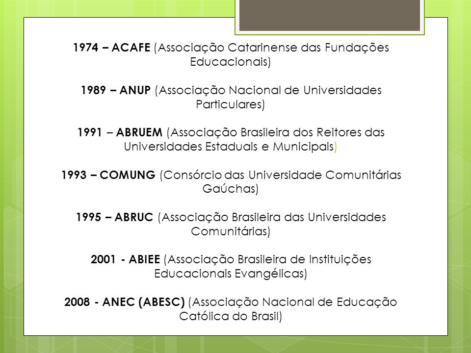 1974 – ACAFE (Associação Catarinense das Fundações Educacionais) 1989 – ANUP (Associação Nacional de Universidades Particulares) 1991 – ABRUEM (Associação Brasileira dos Reitores das Universidades Estaduais e Municipais) 1993 – COMUNG (Consórcio das Universidade Comunitárias Gaúchas) 1995 – ABRUC (Associação Brasileira das Universidades Comunitárias) 2001 - ABIEE (Associação Brasileira de Instituições Educacionais Evangélicas) 2008 - ANEC (ABESC) (Associação Nacional de Educação Católica do Brasil)